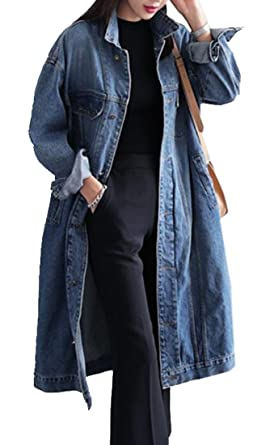 e55b4e91bdf75 Jofemuho Women Button Down Loose Fit Long Plus Size Denim Jacket Trench  Coat Blue L