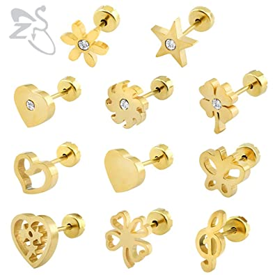 b80df856d0fcd Amazon.com: Cute Baby Stud Earrings 19 Styls Baby Girl Earrings ...