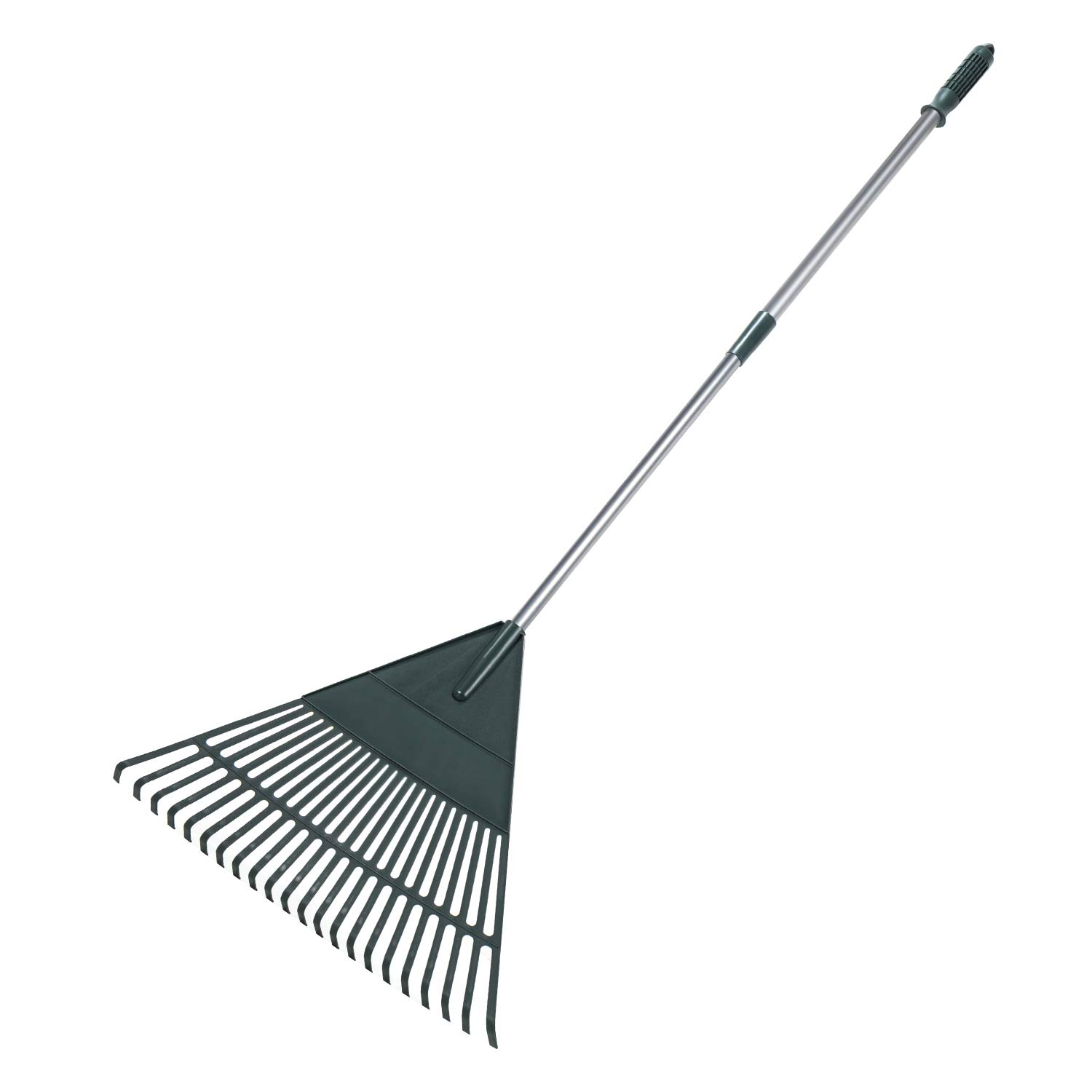 ORIENTOOLS Garden Leaf Rake, Adjustable Lightweight Steel Handle Poly Shrub Rake, Plastic Head, 22 Tines, 42 to 60 Inches (Silver Handle)