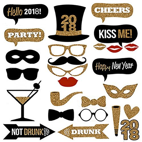 Veewon 2018 New Years Eve Party Photo Booth Props 26pcs Diy Import