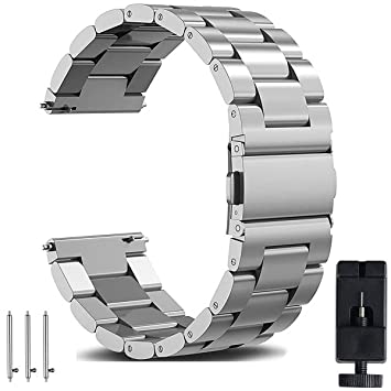 OTOPO - Correa de Repuesto para Reloj Galaxy de 46 mm, 22 mm, Correa de Acero Inoxidable sólido de liberación rápida, para Samsung Galaxy Watch 46 mm ...