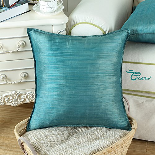 Large Product Image of Pack of 2, CaliTime Silky Throw Pillow Covers Cases for Couch Sofa Bed, Modern Light Weight Dyed Striped, 18 X 18 Inches, Teal