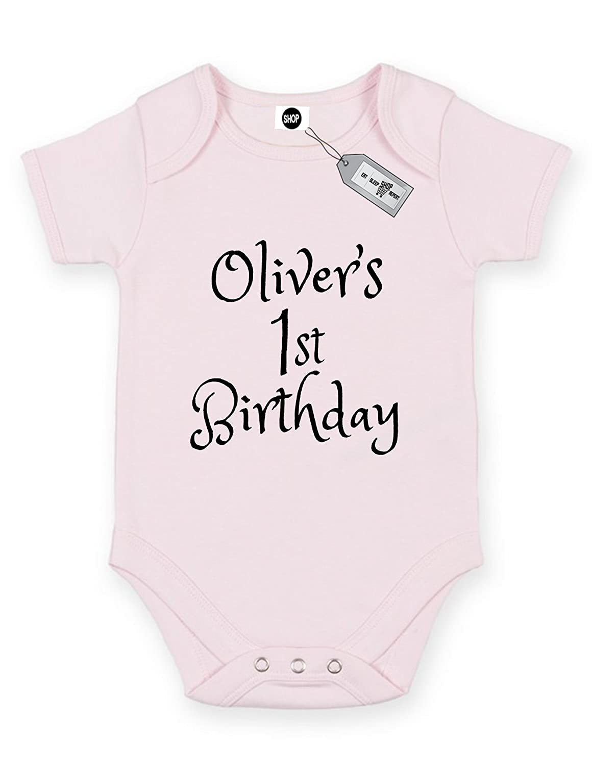 c80c80af76f1b Oliver's 1st Birthday, Name Of Your Choice, Short Sleeve Baby Bodysuit  Babygrow. Free delivery included.