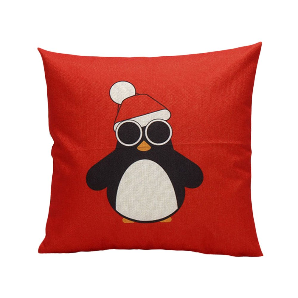 "Mnyycxen Christmas Cartoon Decoration Festival Pillow Case Cushion Cover Pillowcase (red, 45cm45cm/17.717.7"")"