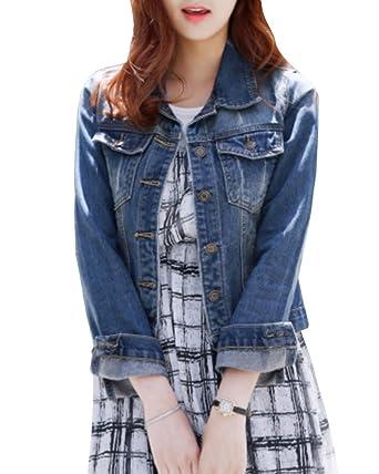 74166c236782 SaiDeng Damen Retro Jeansjacke Schlank Fit Revers Kragen Denim Jacket   Amazon.de  Bekleidung