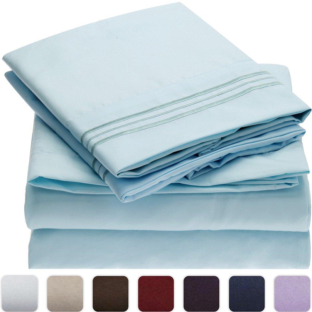 Mellanni ベッドシーツセット 高品質な起毛加工マイクロファイバープリント床敷き 深いマチ しわ 色褪せ 汚れ防止 低刺激 4点キング FBA_701722982338 B00NQDGHDC キング|ベビーブルー ベビーブルー キング