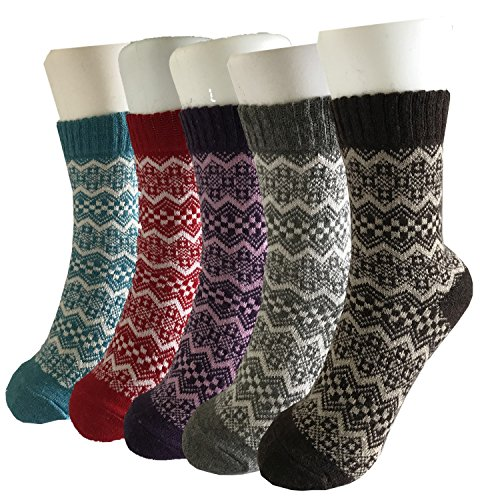 5 Pairs Of Winter Thick Knit Warm Womens Girls Casual Comfortable Wool Crew Socks
