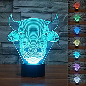 SUPERNIUDB 3D Novelty 3D Bull Cow 3D Night Light Table Desk Optical Illusion Lamps 7 Color Changing Lights