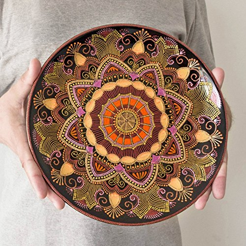 Orange decorative plate Mandarin Sunset Mandala plate Point-to-point Oriental & Amazon.com: Orange decorative plate Mandarin Sunset Mandala plate ...