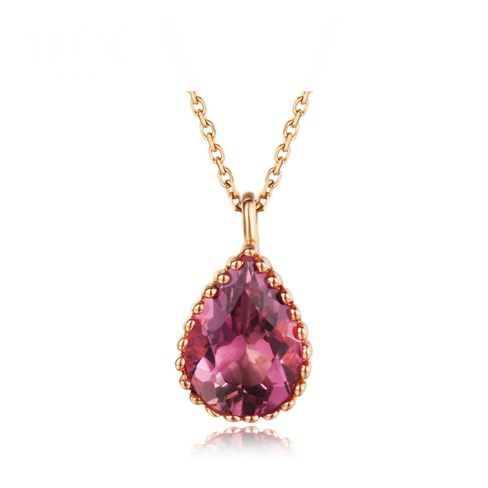 Daesar 18K Gold Necklace For Women Water Drop Pendant Necklace Gemstone Pear Tourmaline Pink Length:40CM by Daesar