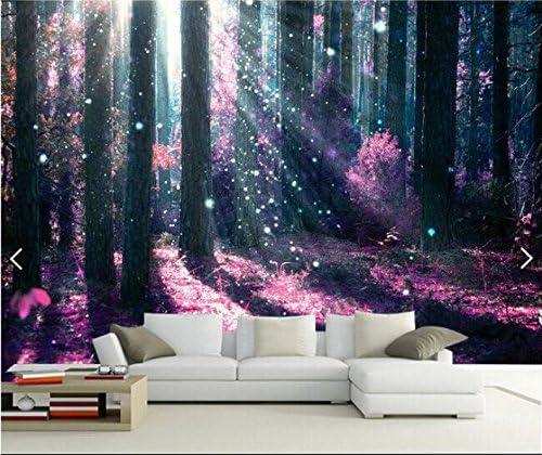 Weaeo 3D壁紙カスタム壁画不織の3D部屋の壁紙美しい紫色の森の木ペイント壁画の写真3D壁の壁画の壁紙-400X280Cm