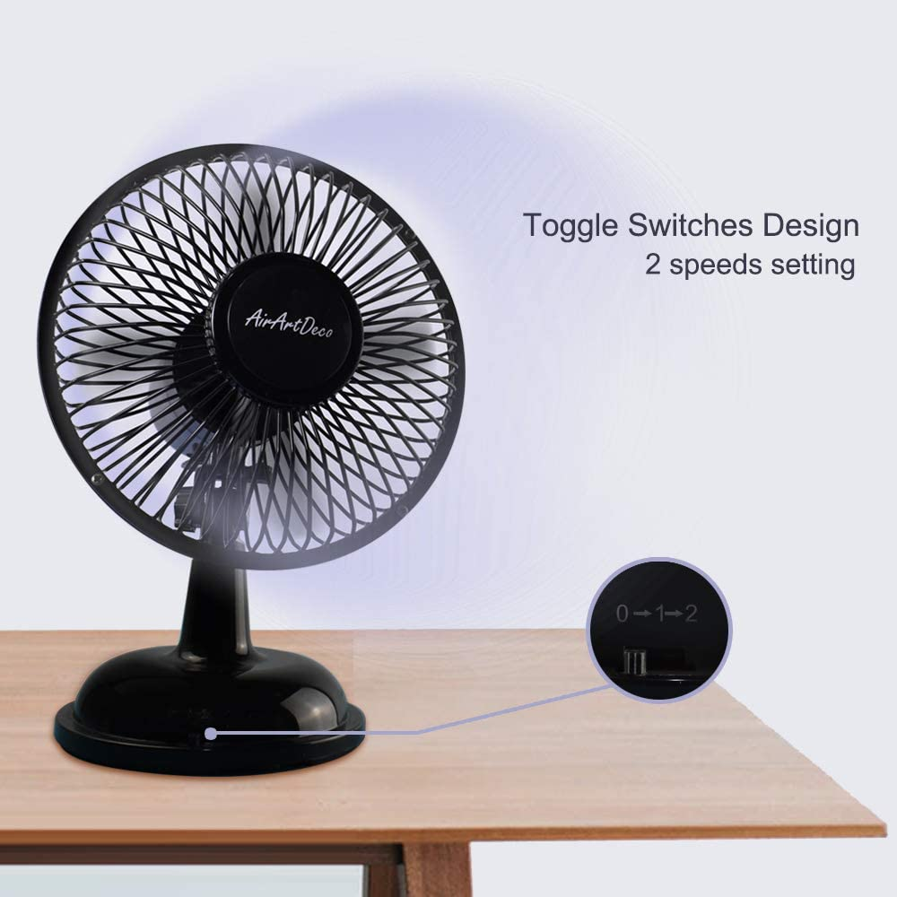 Battery Operated Applicable Portable 5 Inch USB Desktop Fan with 2 Speed Settings Office and Outdoor Ideal for Home Black Quiet Brushless Motor AirArtDeco Mini USB Oscillating Desk Fan