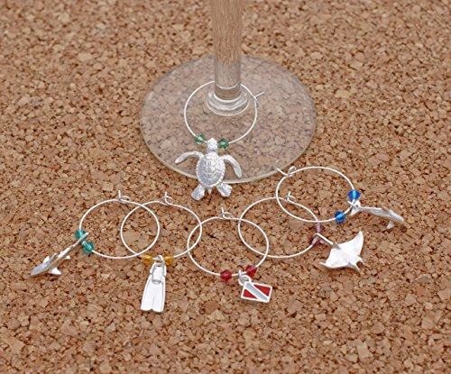 (Big Blue Aquatics Diver Edition Sterling Wine Charms Glass Markers - Set of 6)