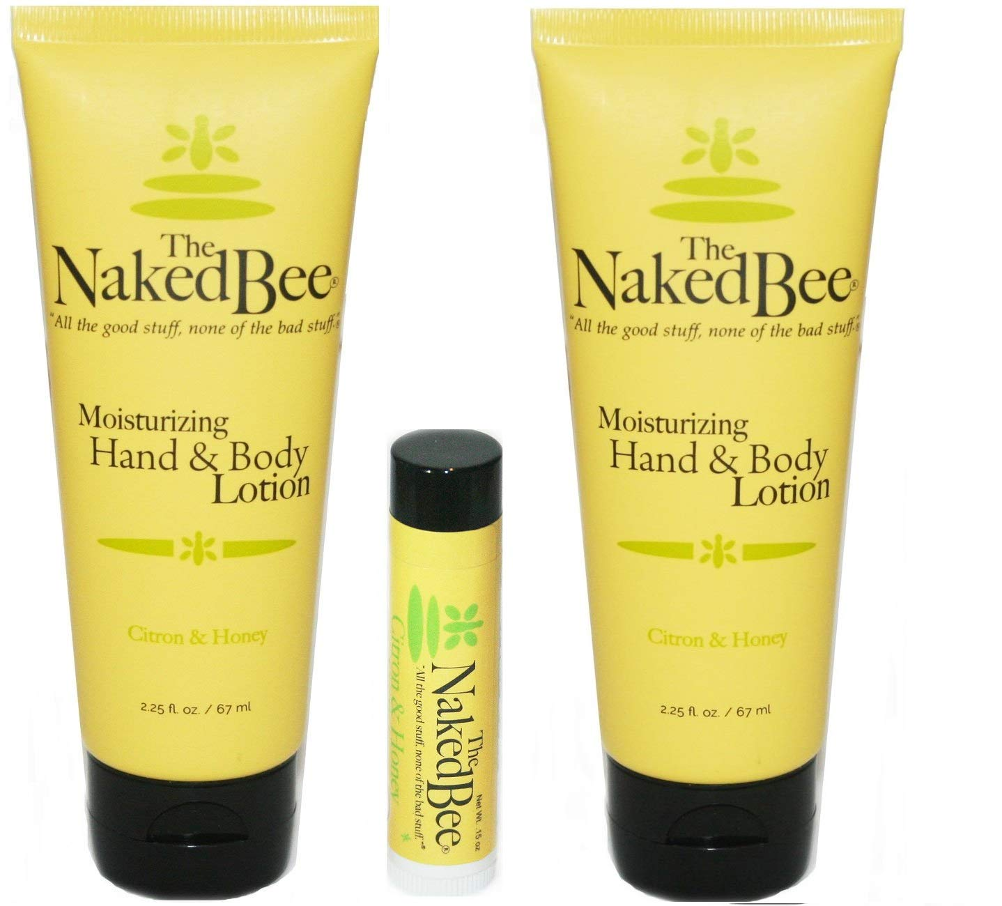 The Naked Bee Citron & Honey Lotion and Lip Balm Set, Hydrating, Moisturizing, and Natural Skin Care Products Cruelty Free