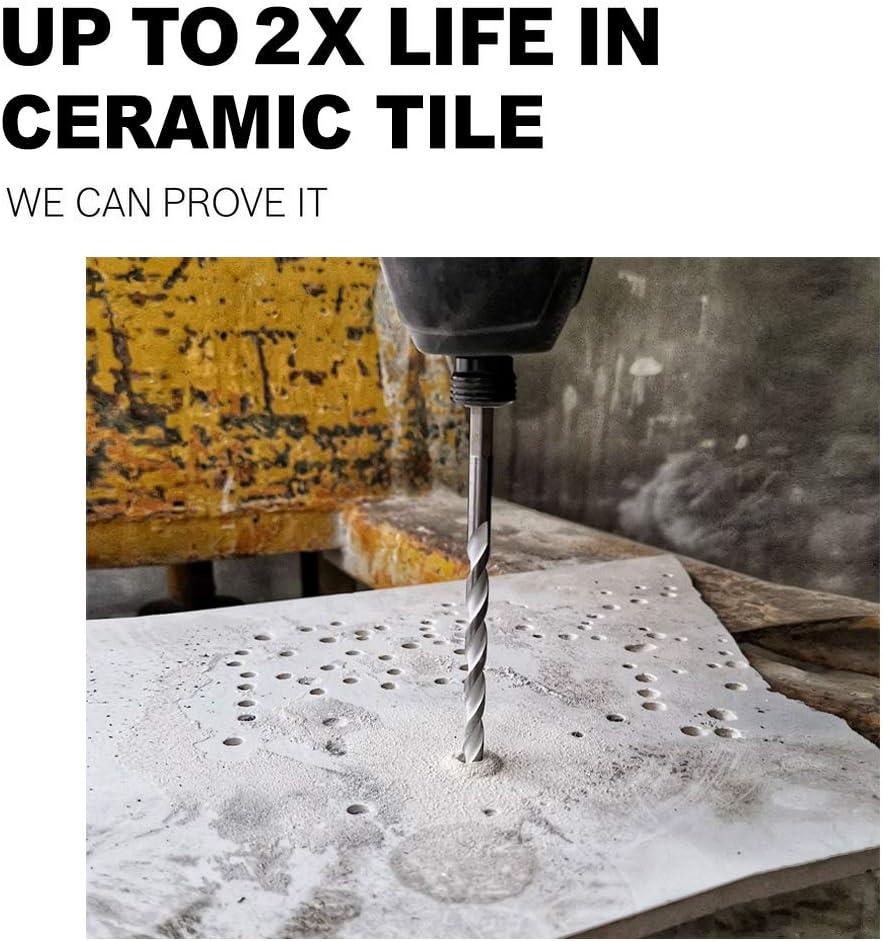 Hex Shank Ceramic Tile Drill Bits Marble Concrete 5pcs Carbide Tip Masonry Drilling Bit Set for Tile Porcelain and Brick