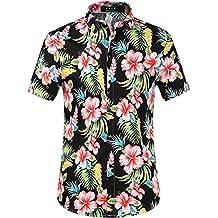 SSLR Men's Hawaiian Style Button Down Short Sleeve Causal Shirts