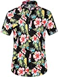 SSLR Men's Floral Casual Button Down Short Sleeve Hawaiian Shirt (X-Large, Black (168-59))