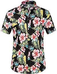 SSLR Men's Button Down Causal Short Sleeve Aloha Hawaiian Shirts