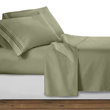 Clara Clark 1800 Premier Series 4pc Bed Sheet Set   King, Sage Olive Green