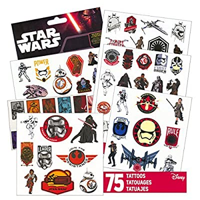 Star Wars Tattoos - 75 Assorted Temporary Tattoos ~ Kylo Ren, Rey, Captain Phasma, Stormtroopers, BB-8, and More!