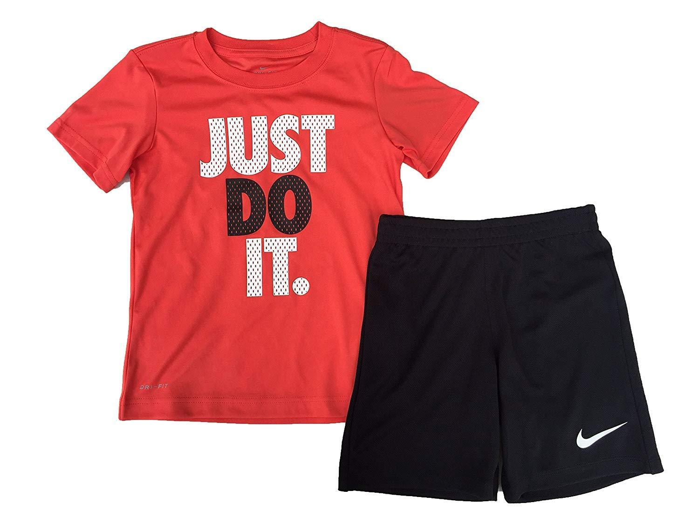 f8b1e0b5 Galleon - Nike Just Do It Little Boys Two Piece Tee Shirt And Shorts Set  Max Orange (86C184-023) / Black/White Size 6