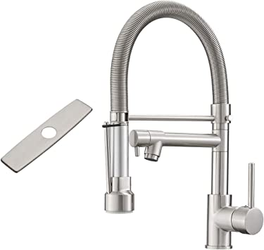 Fapully Kitchen Faucet With Sprayer Single Handle Kitchen Faucet With Hole Cover Brushed Nickel Amazon Com