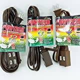 3 Brown Extension Cords 4+6+12 Feet 3 Outlet Grounded 2 Conducter 13A Polarized PT3704B-06B-12B