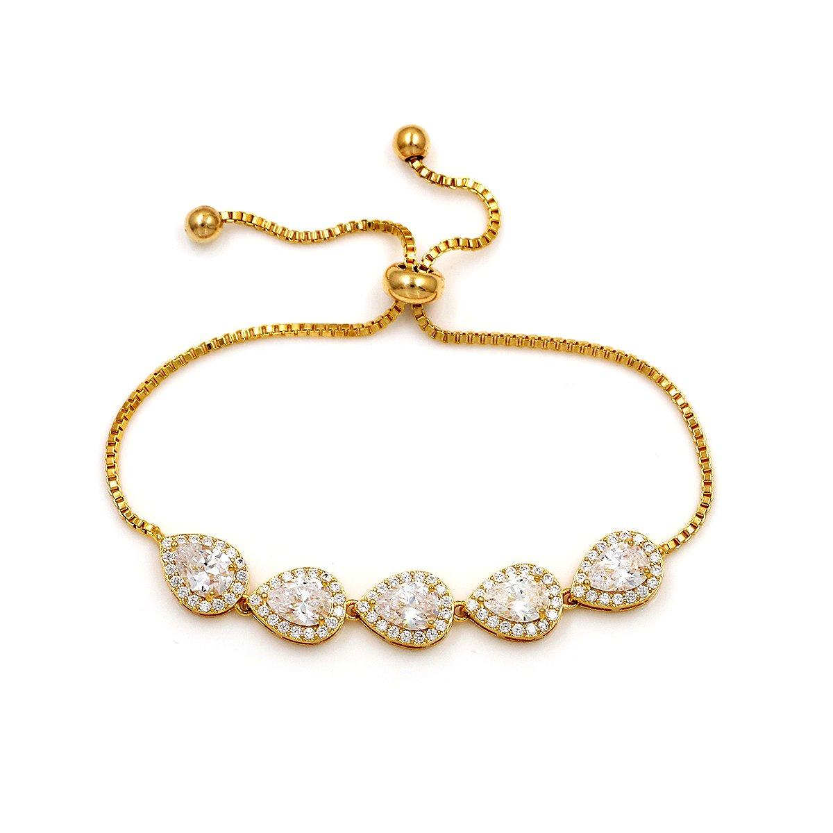 WeimanJewelry Cubic Zirconia CZ Wedding Bridal Pear Cut Adjustable Teardrop Chain Bracelet for Women Lady (Gold)