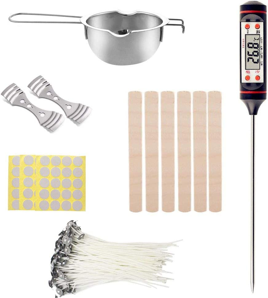 4in Gift2U Candle Making Kit,DIY Candles Craft Tools Full Beginners Set Including 50PCS Wicks ,50PCS Candle Wicks Stick,2PCS Wicks Holder,1Pc Thermometer and 5Pack Stirring Sticks