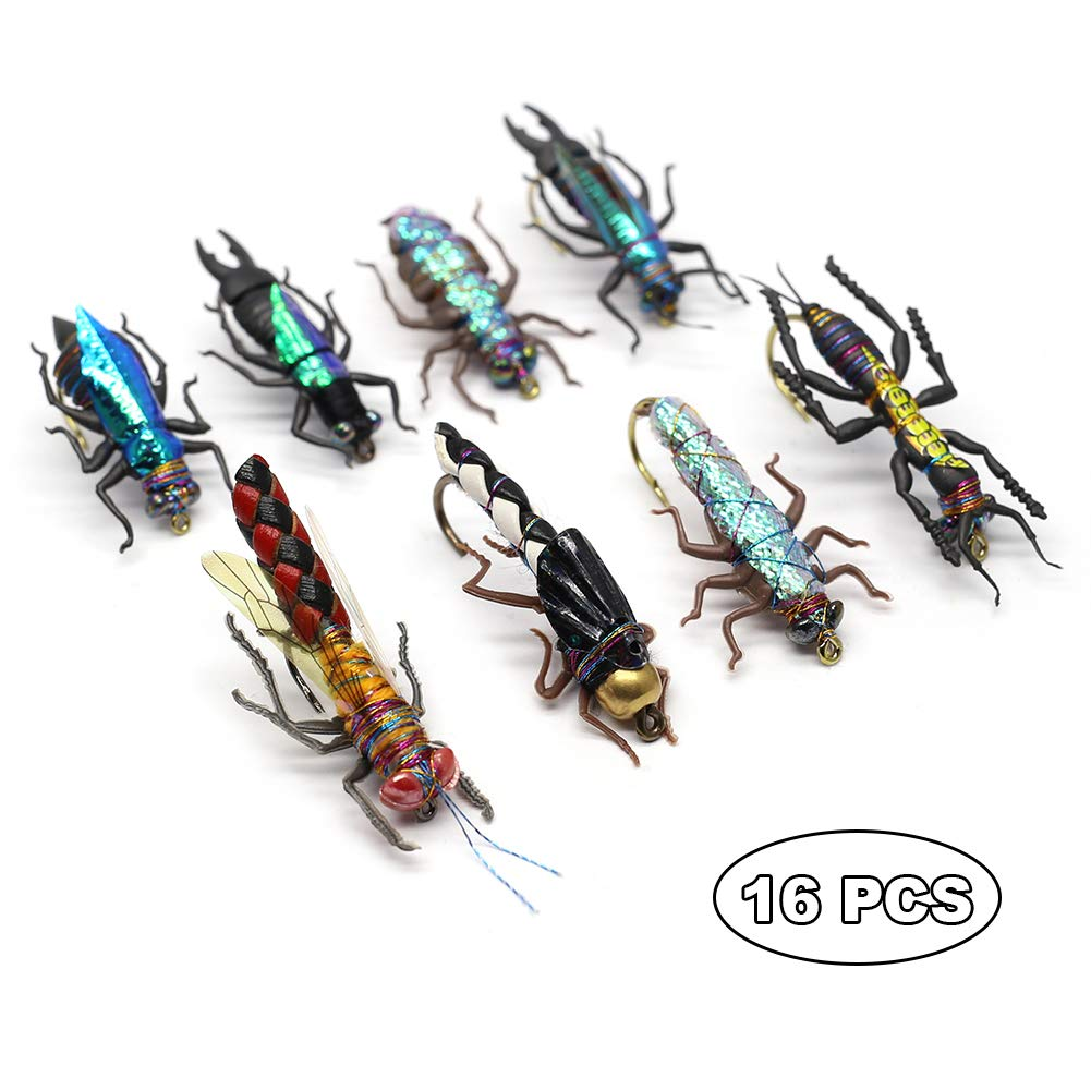 YZD Trout Fly Fishing Flies Collection Dry Wet Nymph Fly Assortment with Fly Box Flyfishing Flys Lures 12/16/18/22/36 Kits (Sand kit)