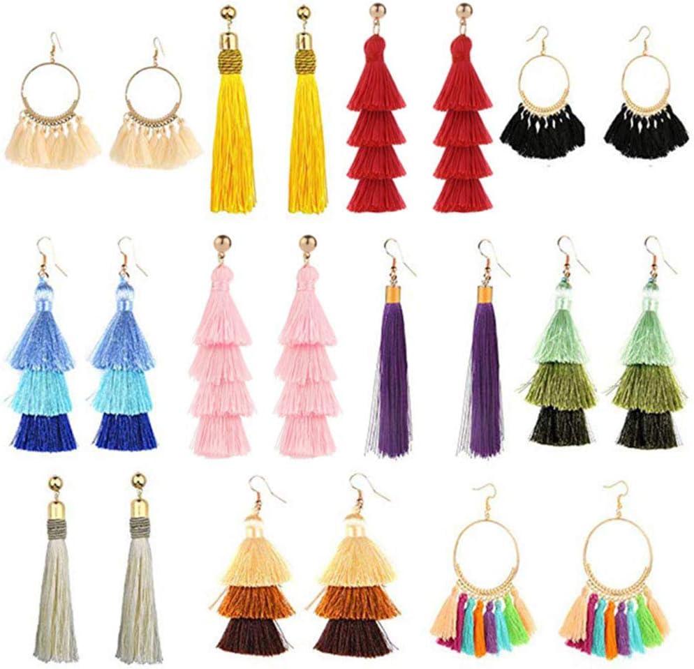 OeyeO 11 pares de pendientes de borla para mujer, pendientes de borla, hilo largo, color amarillo, rojo, joyería de moda, regalo de San Valentín, cumpleaños, Navidad