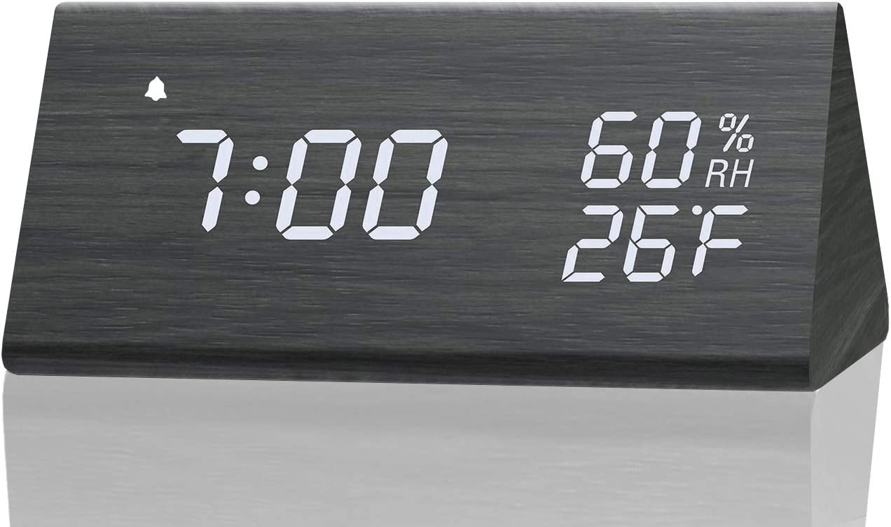 Digital Alarm Clock With Wooden Electronic Led Time Display 3 Alarm Settings Humidity Temperature Detect Wood Made Electric Clocks For Bedroom Bedside Black Home Audio Theater