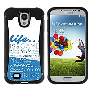 Pulsar Defender Series Tpu silicona Carcasa Funda Case para SAMSUNG Galaxy S4 IV / i9500 / i9515 / i9505G / SGH-i337 , Life is a Game
