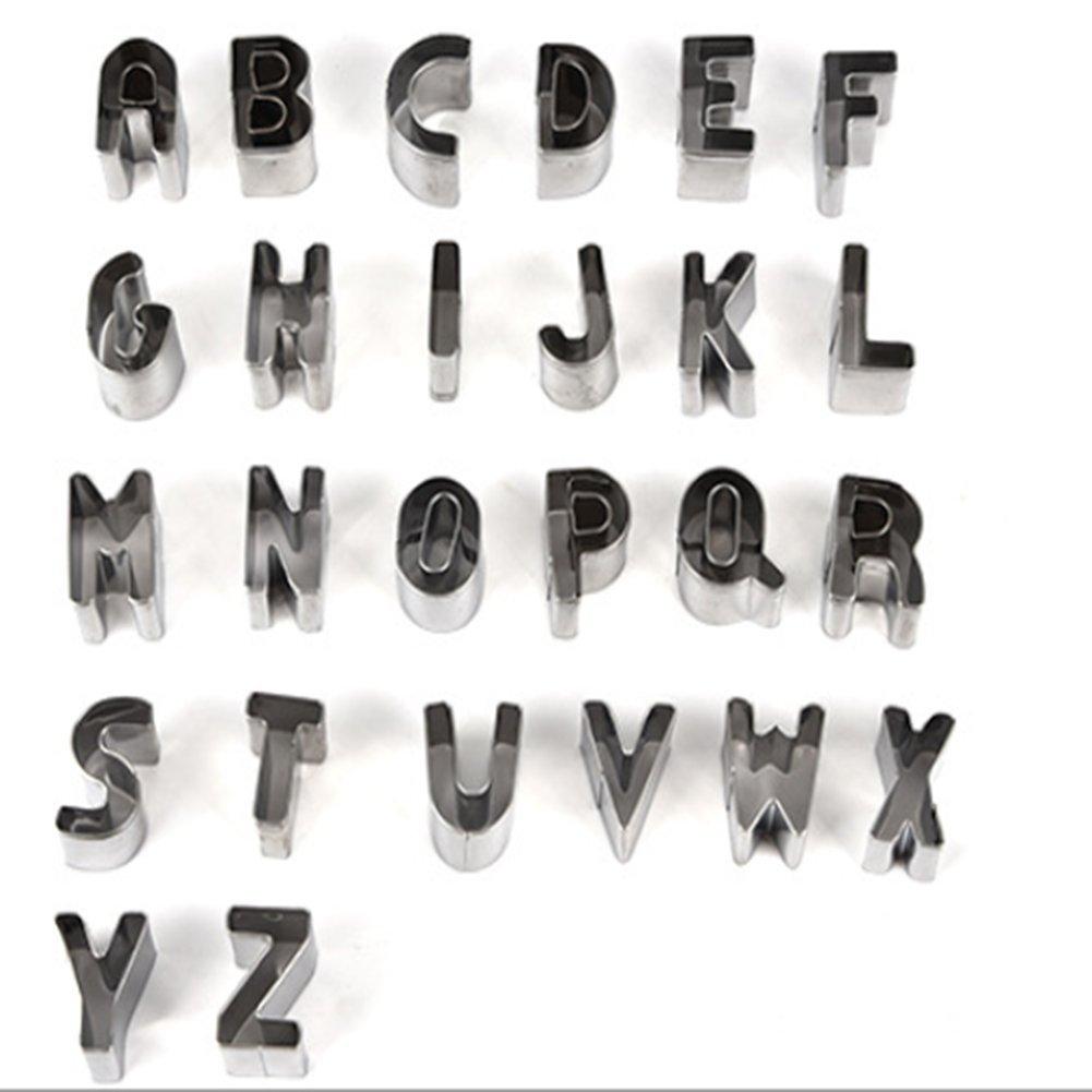 B-D Molde para Galletas - Molde para Pasteles - 26 Letras En Inglés - Bricolaje - Herramientas para Hornear - Acero Inoxidable: Amazon.es: Hogar