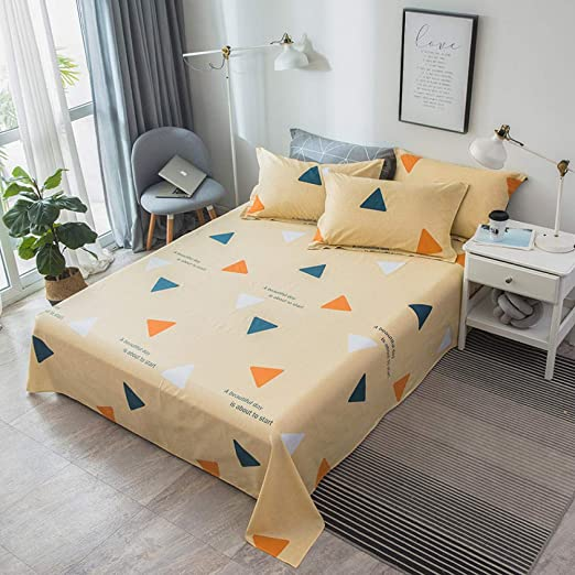 Juego de sábanas planas de rayas de café Juego de cama de tela de ...