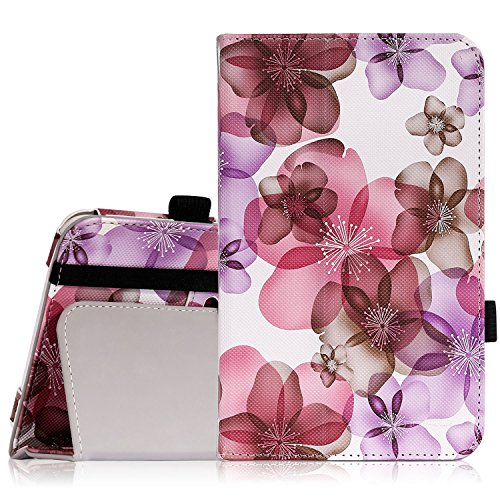 MoKo Samsung Galaxy Tab E Lite 7.0 Case - Slim Folding Cover Case for Galaxy Tab E lite 7.0 SM-T113 & Tab 3 Lite T110 / T111 7.0 Inch Android Tablet, Floral PURPLE