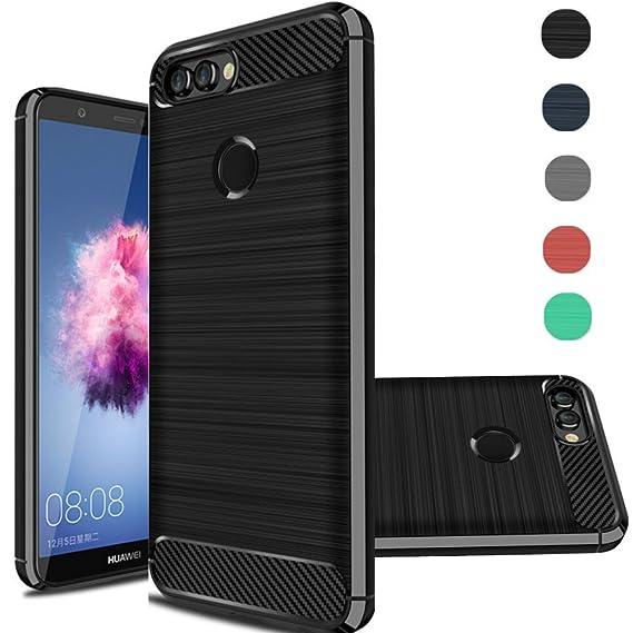 nuovo di zecca 0ae28 e4e77 Huawei P Smart Case, Huawei Enjoy 7S Case, Rnicy Slim Anti-Fingerprint  Rubber Soft TPU Flexible Brushed Texture Protective Cover Case for Huawei P  ...