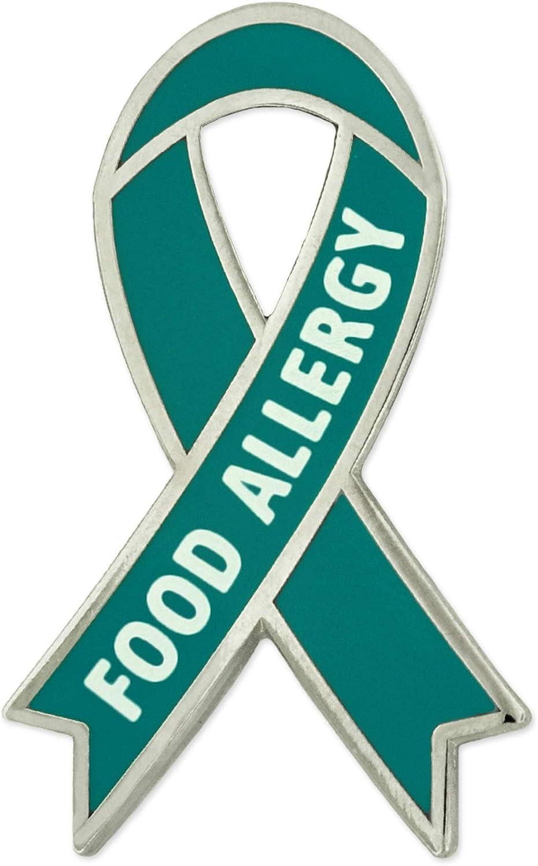 PinMart Food Allergy Teal Awareness Ribbon Enamel Lapel Pin