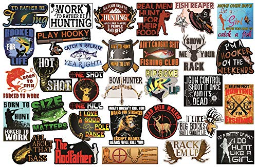 32 Hunting and Fishing Stickers. Adult Stickers for The Avid Hunter or Fisherman. Make Great Hunting Accessories or Fishing Accessories - 100% Waterproof Vinyl Stickers