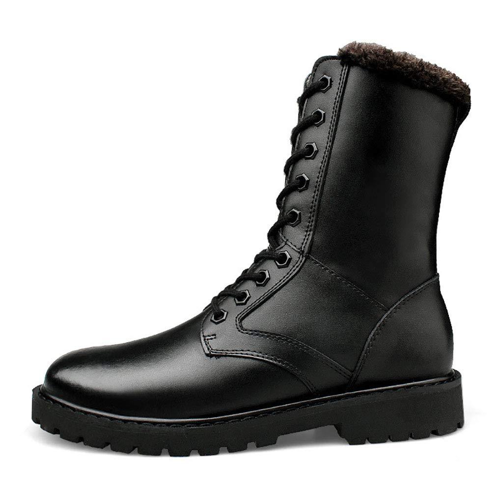 YAN Herrenschuhe Leder Winter Schnee Stiefel Baumwolle High-Top-Outdoor-Kampfstiefel Rutschfeste Komfort Stiefel Outdoor-Arbeit & Sicherheitsstiefel,schwarz,47