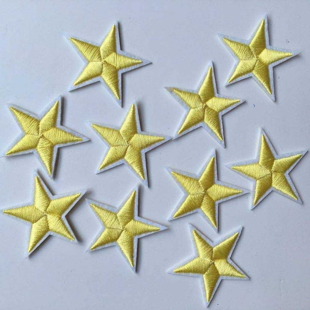 10Pcs Star Embroidered Sew Iron on Patch DIY Clothes Applique Sticker Badge - Yellow longyitrade