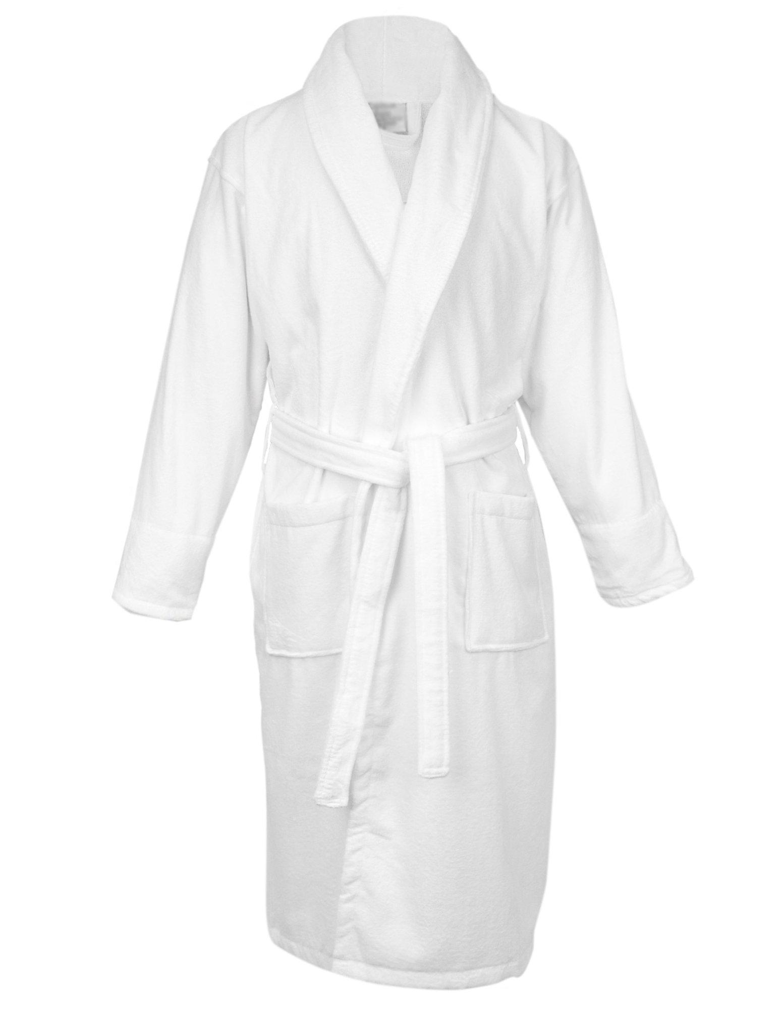 BC BARE COTTON 100% Turkish Cotton Men Terry Velour Shawl Robe, XX-Large, White