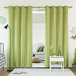 "Best Home Fashion Room Darkening Plus Print Curtains - Stainless Steel Nickel Grommet Top - Green - 52""W x 84""L - (Set of 2 Panels)"