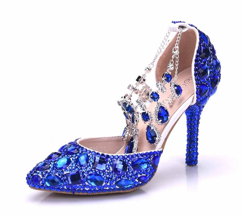 d65e216debbe1 Amazon.com: Women Tassels Crystal Wedding Shoes 9 CM High Heel ...