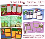 Visiting Santa Girl Scrapbook Set - 5 Double Page Layouts