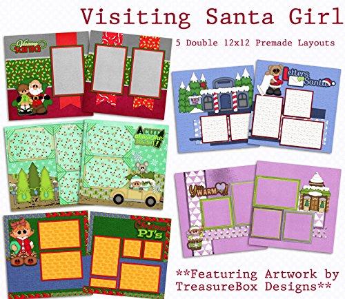 Visiting Santa Girl Scrapbook Set - 5 Double Page Layouts ()