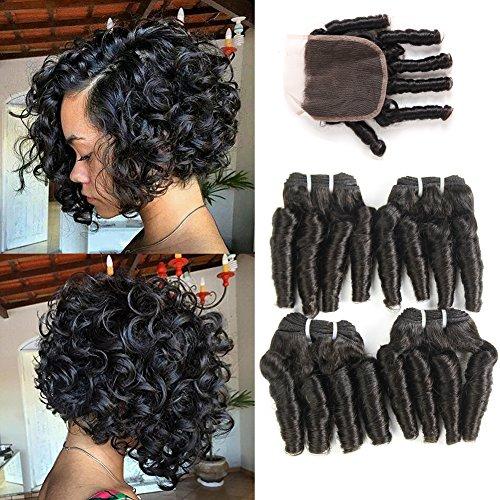 Funmi Curly Hair Weave 4 Bundles with Closure, UDU 8a Short Curly Weave Brazilian Funmi Hair Bundles with Closure, Spring Curl Aunty Funmi Hair Bouncy Curls Short Bob Style Hair 50G(8 8 8 8+8)