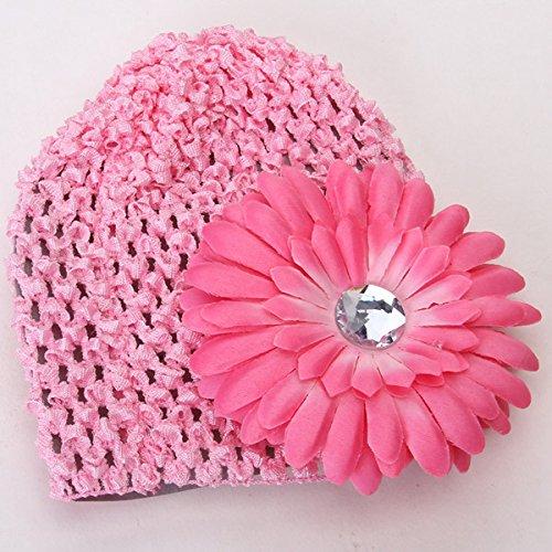 17b71ba4696 Anbau Handmade Crochet Beanie Cap Hat with Rhinestone Charms Daisy Flower  Design Hair Clip for Baby Girl Winter Warm Clothing Pink  Amazon.in   Clothing   ...
