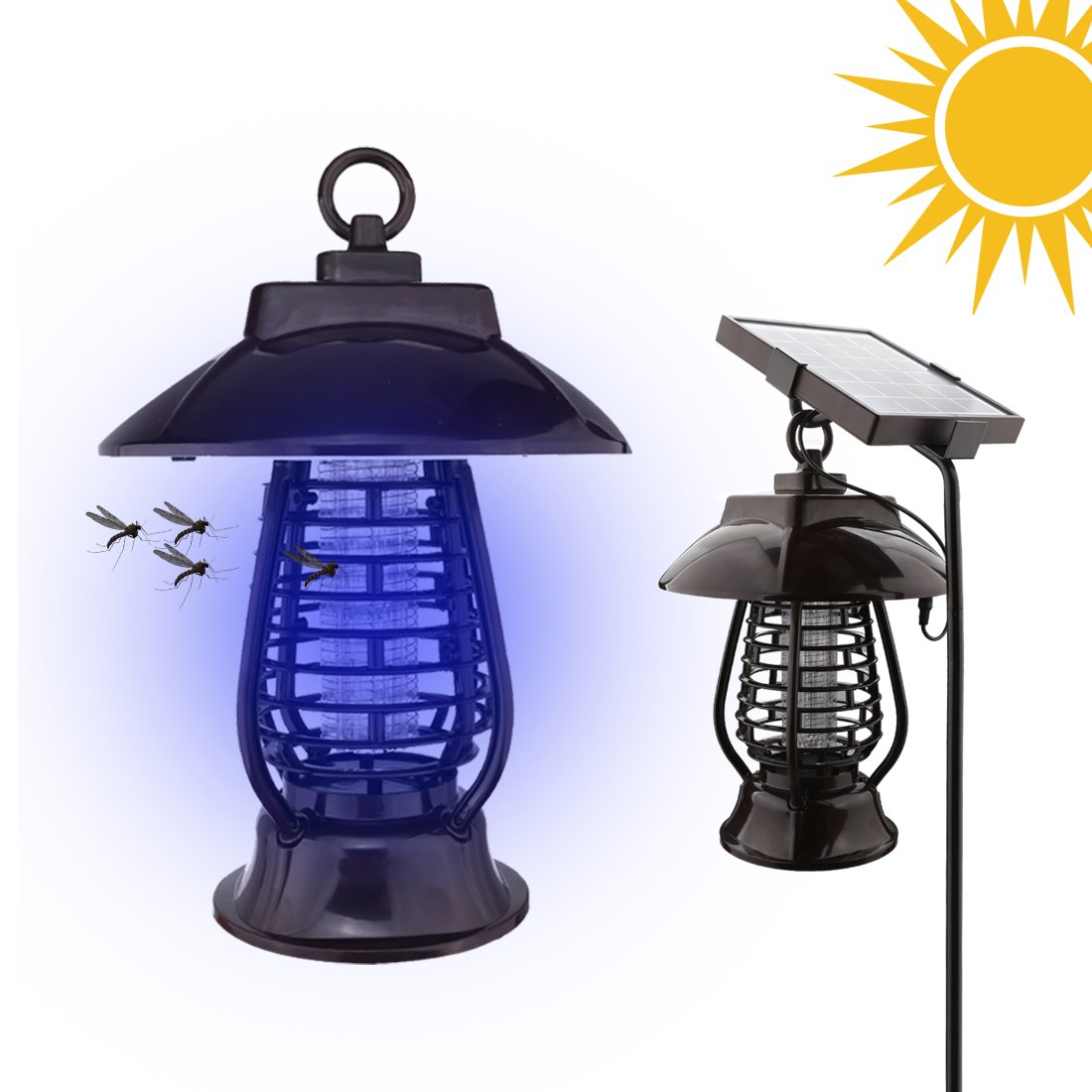 A-SZCXTOP Energy-saving Solar Mosquito-killer LED Light Insect / Mosquito/ Flying Killer Mute Lamp 2 Lighting Modes Portable Bug Zapper Light with Waterproof Design Home Office Camping Garden Lawn