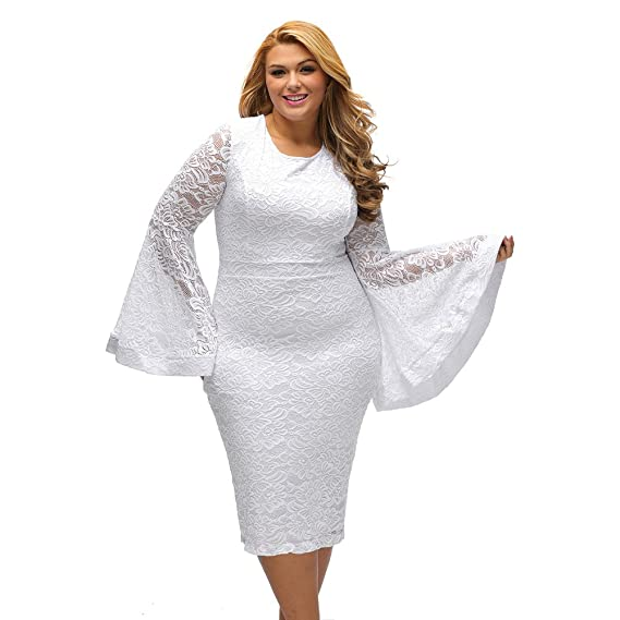 93f9576e5ad3 Lielisks Plus Size Dress Women's Flare Sleeve Bodycon Lace Dresses Evening  Party at Amazon Women's Clothing store: